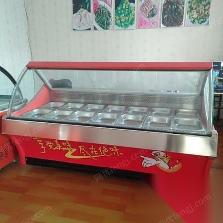 黑龙江鹤岗出售熟食店全部设备。三个展示柜。一个保险柜一个?大冰棍。烤鸭炉。三连水池。排烟罩。白钢平台。高压锅所有设备。