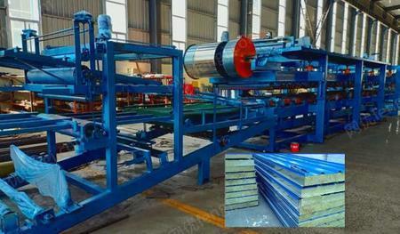 供应上海技术夹心复合板机泡沫岩棉夹心板设备