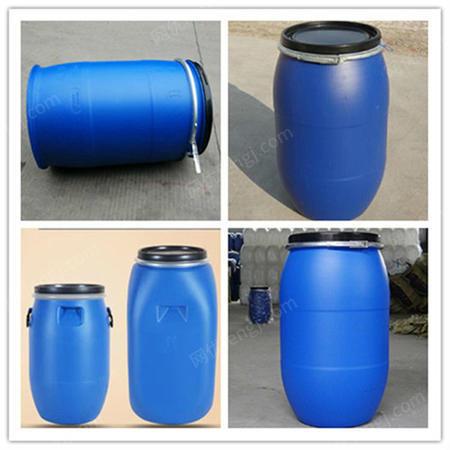 供应160l带铁箍抱箍桶-160升蓝色桶-法兰桶160公斤全新桶