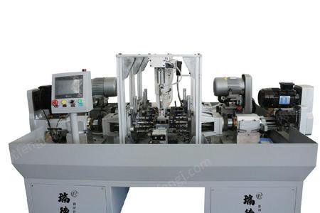 供应自动化定制伺服电机壳体卧式双工位倒角攻丝机
