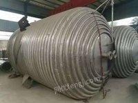 浙江杭州在位出售几台二手不锈钢反应釜 20立方 厚度12mm 未使用保养良好