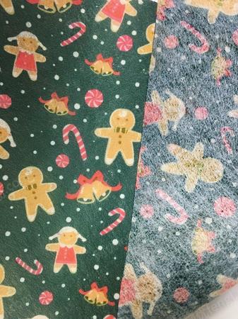 厂家批量生产儿童水刺印花无纺布 圣诞图案