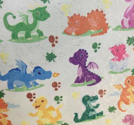 厂家批量生产儿童水刺印花无纺布 恐龙图案