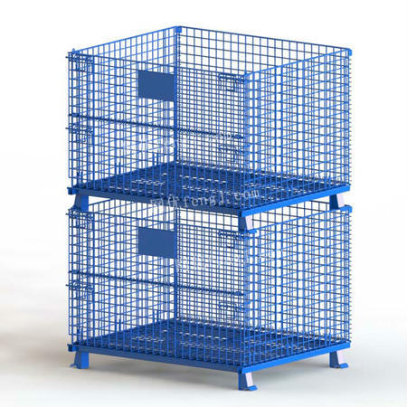 供应喷塑仓储笼 折叠式网格堆垛箱 半开门多层堆叠蝴蝶笼 蓝色仓库笼