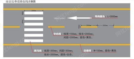 南京道路划线_南京达尊道路警告标线_车行道宽度渐变标线